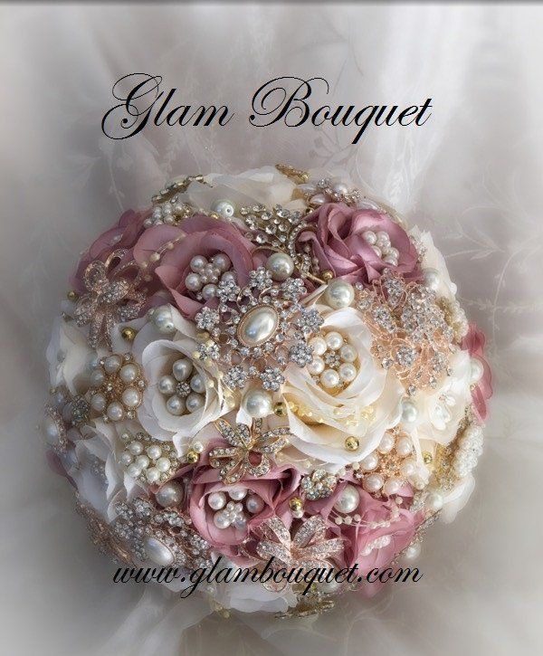 "Custom 9.5"" Dusty Rose/ivory and Rose Gold Bridal Brooch Bouquet - $520.00 Custom made by Elegant Wedding decor by JoAnne, aka: Glam Bouquet. Dusty Rose and ivory Silk Flower bouquet with all Rose Gol"