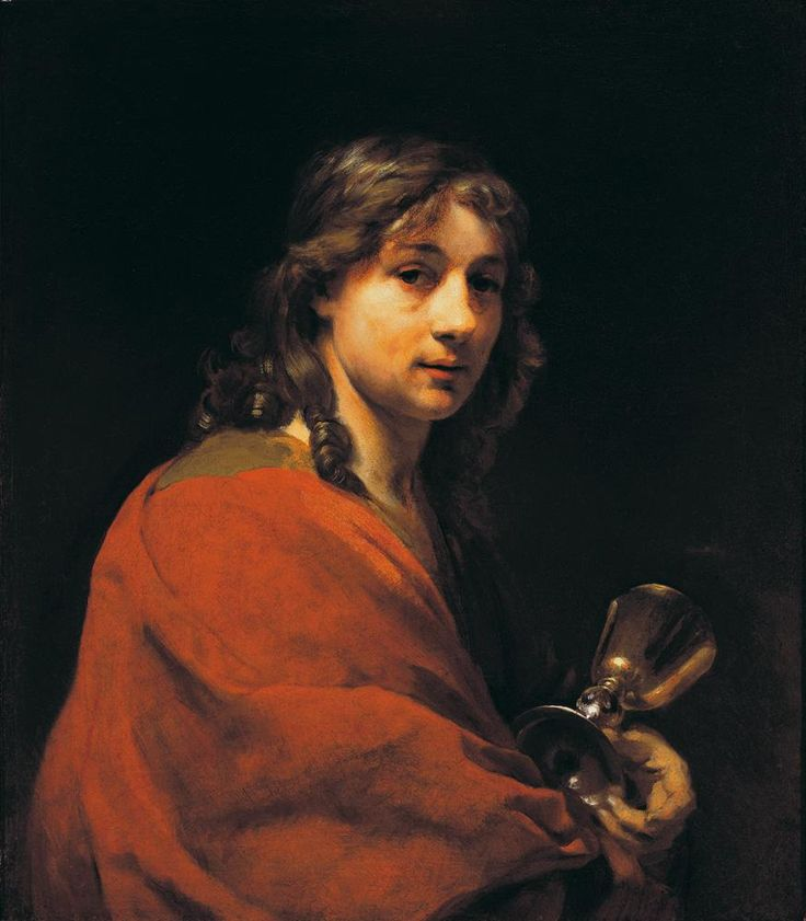 Willem Drost, Self-portrait as St. John the Evangelist, around 1655. Oil on…