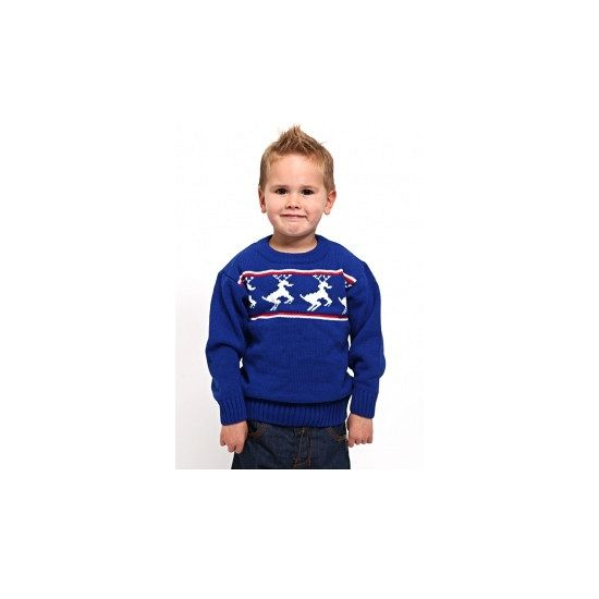 Blauwe kerst ski polo voor kinderen. Blauwe kersttrui met rendieren print. De…