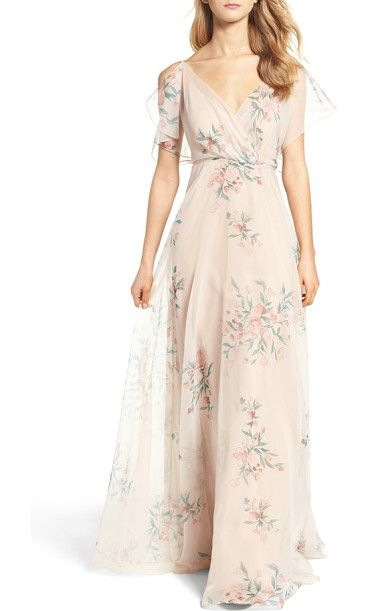 cassie flutter sleeve surplice gown by Jenny Yoo. Feather-light and printed with painterly floral bursts, this ethereal gown features a beautifully draped surplice nec...