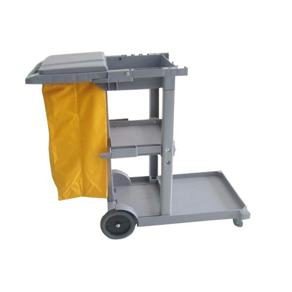 Janitor Cart Grey with Cover (B).  - Type:308KL-JCTPAB - Color:Grey Trolley, yellow Bag - Product size :119X482X96CM / 120X52X96cm - Harga per Unit.  http://alatcleaning123.com/janitorial-trolley/1637-janitor-cart-grey-with-cover.html  #janitorcart #trolley #alatcleaning