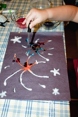 Snails and Puppy Dog Tails: Salt Painting Fireworks