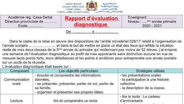نموذج تقرير التقويم التشخيصي باللغة الفرنسية Word Https Ift Tt 3484fxe In 2020 Words