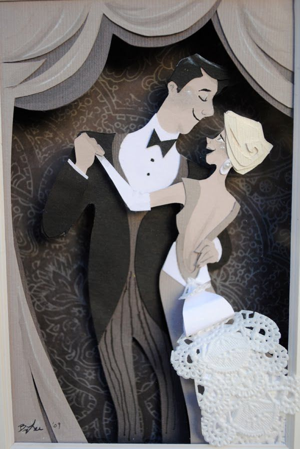 Paper art. Artist: Brittney Lee. Adorable wedding couple. Wouldn't this be great on a table at a wedding, where the guest book was?  So lovely.