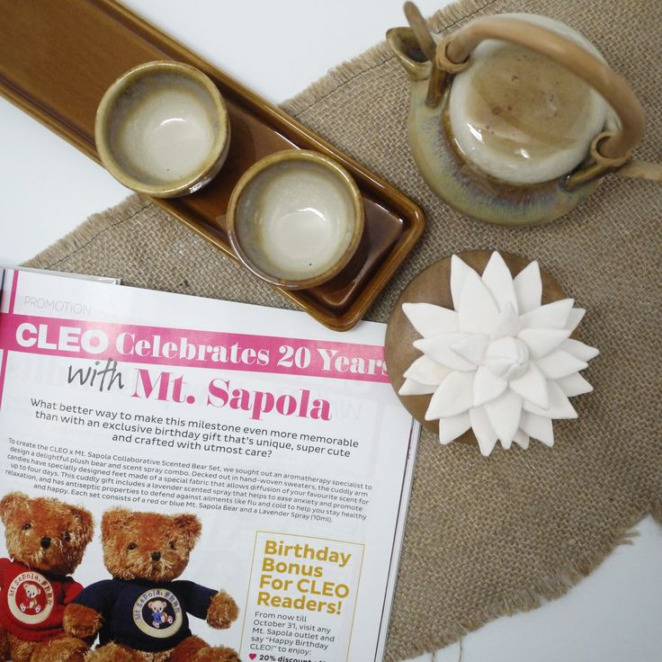 Cleo Celebrates 20 years with Mt. Sapola!   Spot us in the October Issue of Cleo Magazine, and find out more on how to win 20 CLEO x Mt. Sapola Collaborative Scented Bear Sets Worth $99.90! Exclusive promotions for all the CLEO Readers waiting for you at all Mt. Sapola Boutiques. Promotion valid till 15 October 2014.