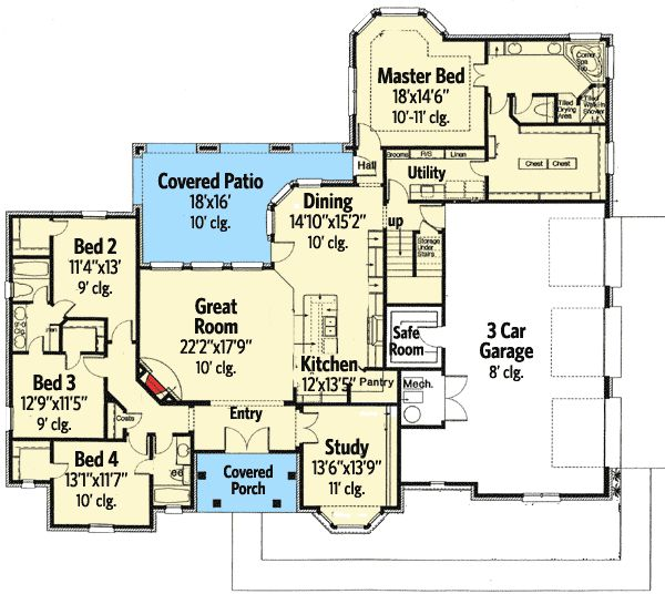 Plan 48445fm Secluded Master Suite And A Safe Room