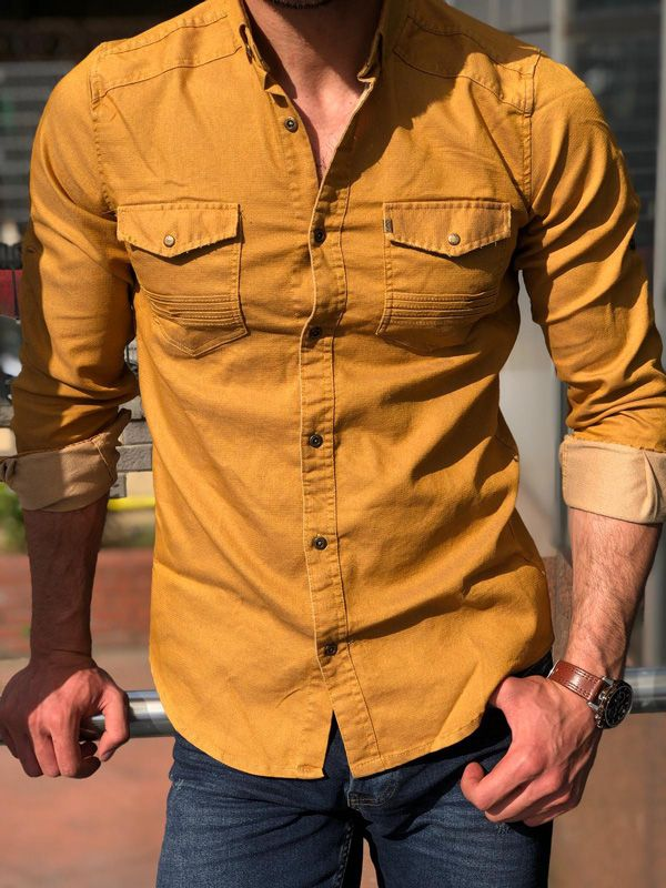 Domple Mens Buttons Short Sleeve Spread Collar Denim Chest Pocket Fashion Shirts