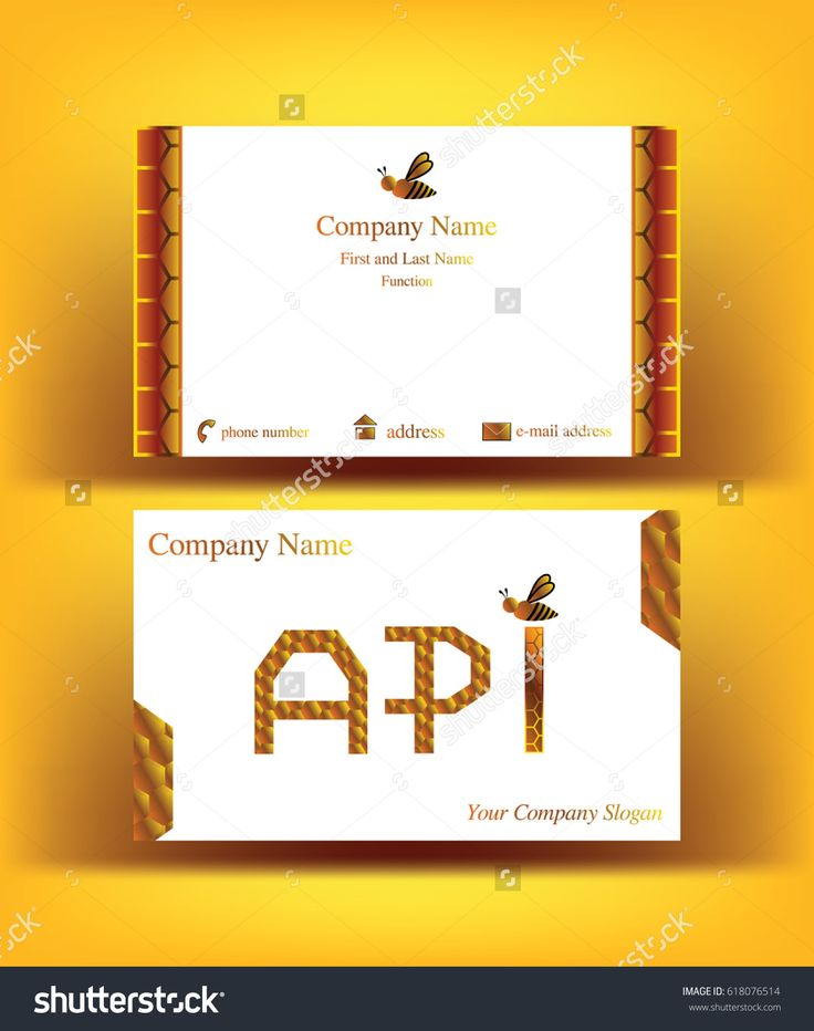 Professional #business #card with #API #letters design, referring to the word #apiculture, with abstract decor resembling #honeycombs and with one small #bee symbol, on yellow background