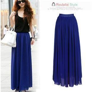 Длинная шифоновая юбка синяя
