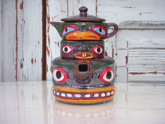Vintage Totem Pole Teapot Set  Stacking Holiday by honeystreasures: Totems, Pole Teapot, Vintage Teapots, Stacking Holiday, Holiday Gifts, Totem Poles
