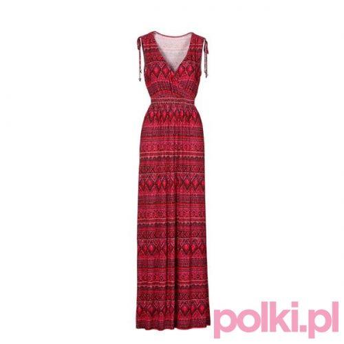 czerwona sukienka maxi C&A #polkipl