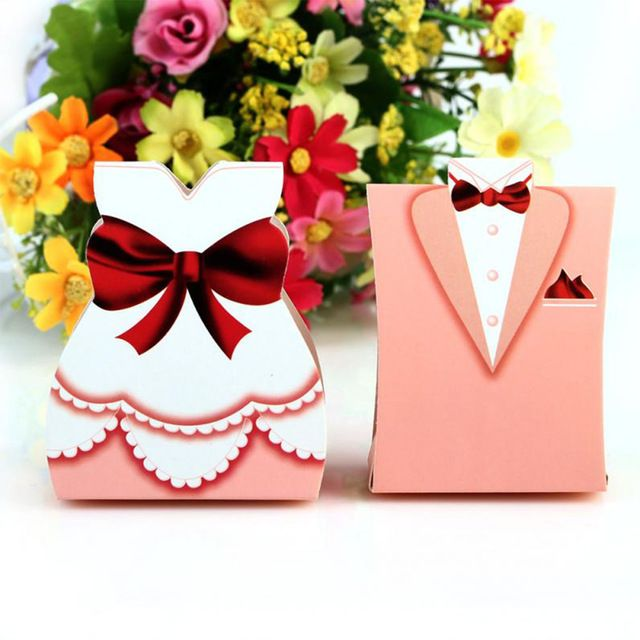 2016 New 50Pcs Fashion Pink Bride Groom Tuxedo Dress Gown Shape Wedding Favors Candy Gift Box
