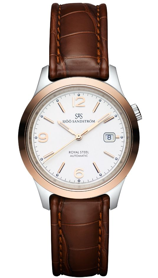Royal Steel Classic 41 mm, ivory rose gold dial, solid gold bezel with brown alligator. #sjöösandström #sjoosandstrom #watch #watches #sweden #classic