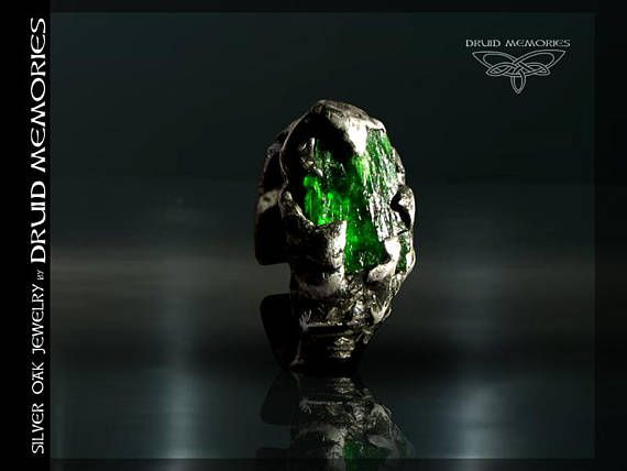 Raw chrome diopside  Russian emerald ring