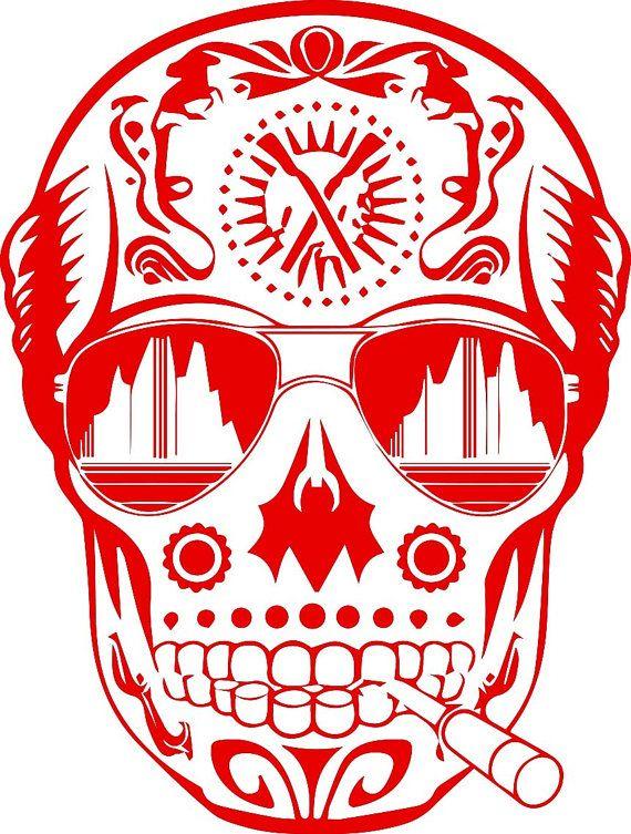 Large Smoking Sugar Candy Skull Tribal Wall by BoultonsGraphics