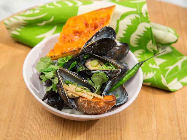 Slow-Cooker Thai Coconut Mussels recipe from Jeff Mauro via Food Network