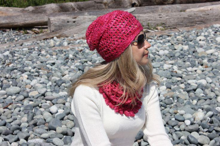 Silk slouchy hat and cowl. 100% Mulberry Silk. #crochethats; #silkyarn   www.facebook.com/KnitEleganza