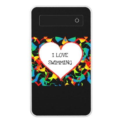 I Love Swimming Sports Editable Modern Abstract Power Bank - modern gifts cyo gift ideas personalize