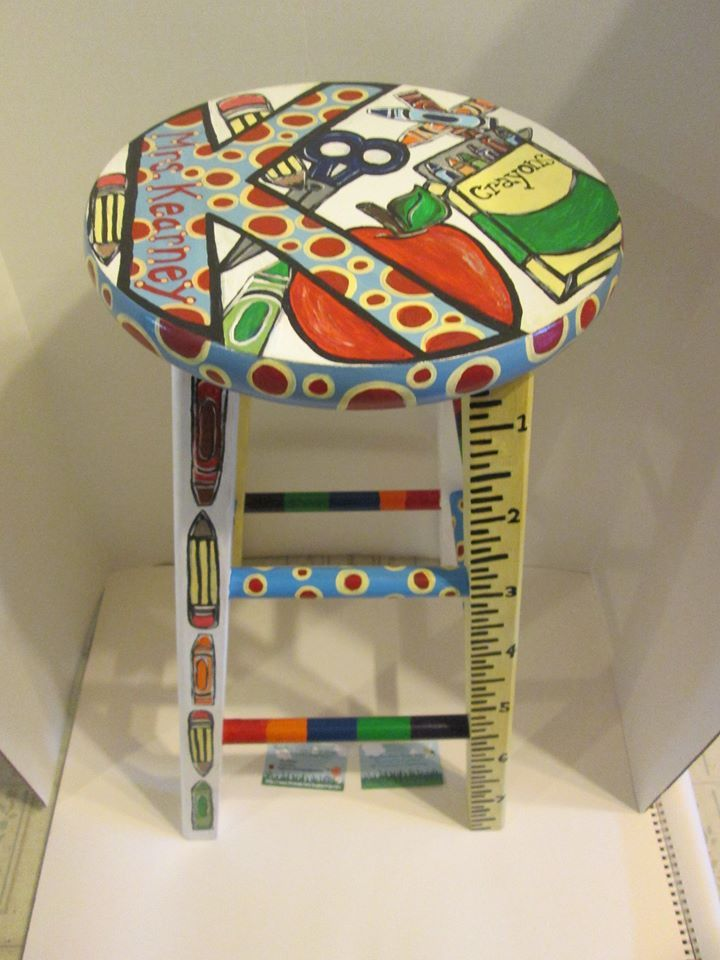"Fun ""school themed"" hand painted wooden stool, designed for a 3rd grade teacher and her classroom! View #2  https://www.facebook.com/buggybeandesigns"