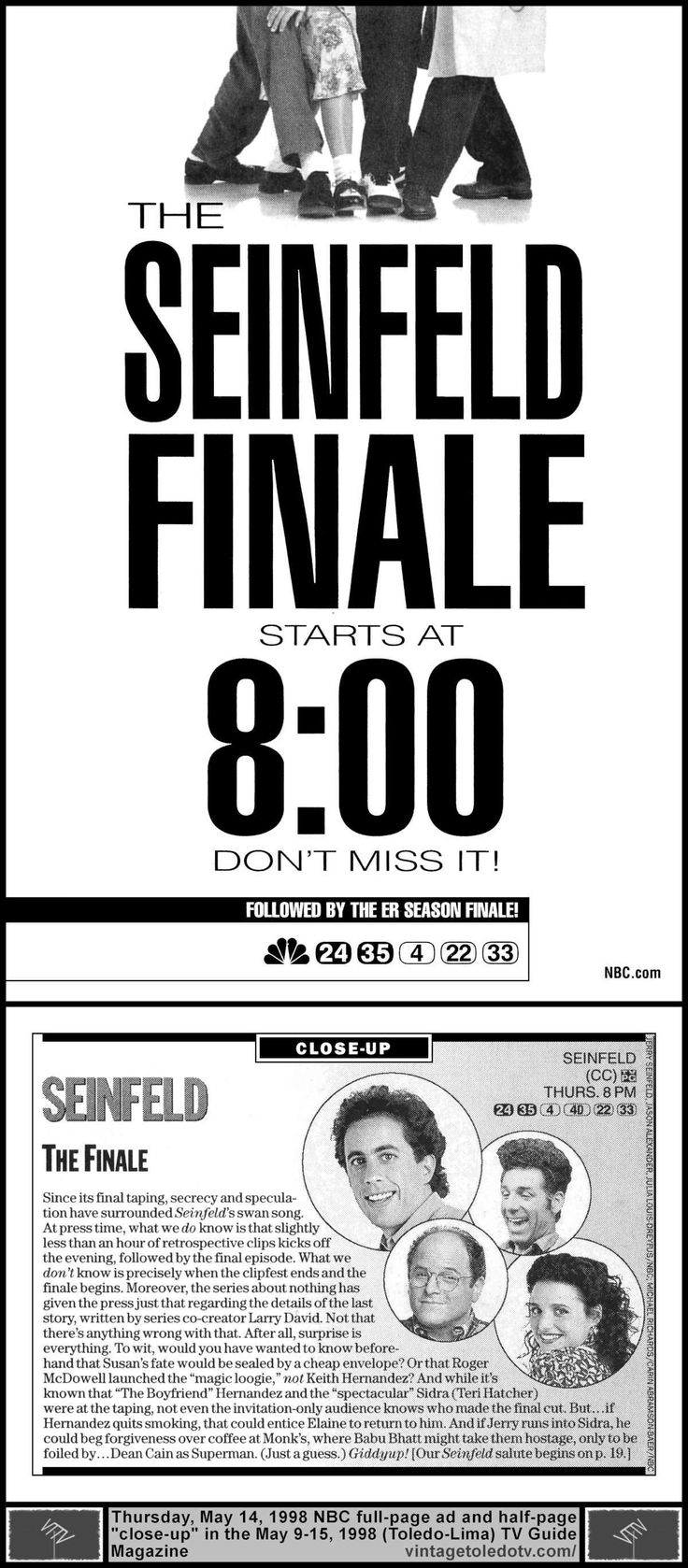 "Vintage Toledo TV - NBC Print ads - Seinfeld ""The Finale"" (Thu 5/14/98 full-pg TV Guide ad and half-pg ""close-up"") Jerry Seinfeld, Michael Richards, Jason Alexander, Julia Louis-Dreyfus."
