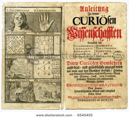 Old book page from 1717 about the curious science of astrology and fortune telling