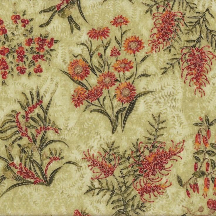 Australian Sun Grevillea Bottlebrush Native Flowers Green Quilting Fabric - Find a Fabric. Available to purchase in Fat Quarters, Half Metre, 3/4 Metre, 1 Metre and so on.