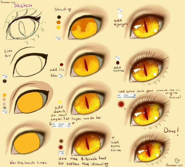 Anime Eyes Text Monster Demon How To Draw Manga Anime Digital Art Tutorial Eye Drawing Tutorials Cat Eye Tutorial
