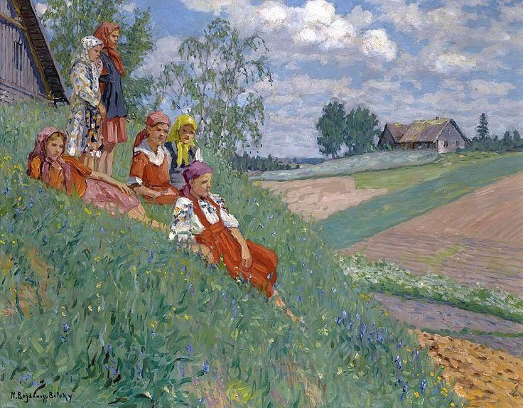 Children In A Meadow. Nikolai Petrovich Bogdanov-Belsky