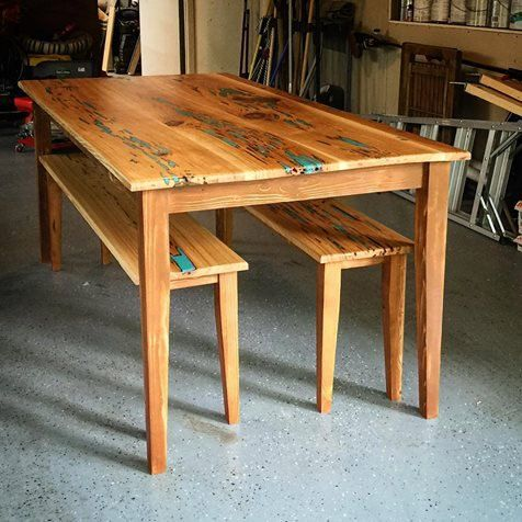 For sale is an eclectic, one-of-a-kind glow table that is sure to be the talk of any event you host! This handcrafted table is fabricated out of unique pecky cypress: a species renowned for its pockets that are riddled throughout the wood. We carefully clean out these pockets and fill them with a colored epoxy / resin mixture that not only pops during the day but will glow in the dark in the evening! But how? Well, the resin is mixed with a glow-in-the-dark powder that is light-activated…