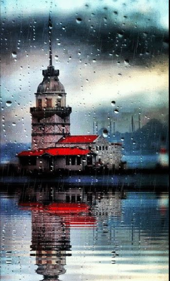 Rainy day & Maiden's Tower, Istanbul.