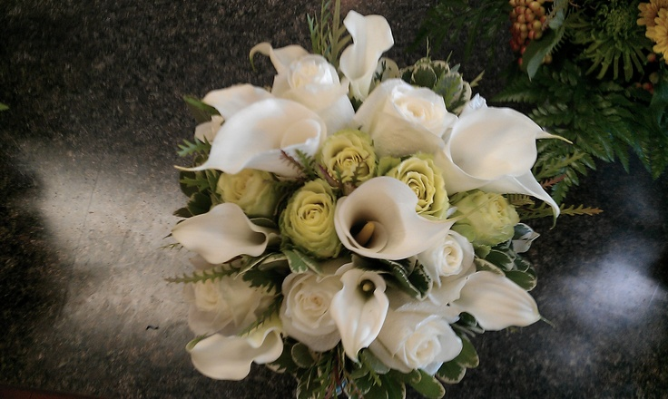 White Calla Lily and Green Rose bouquet: Rose Bouquets, Green Rose
