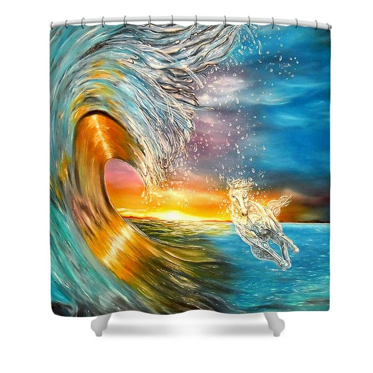 Shower Curtain,  bathroom,accessories,unique,fancy,cool,trendy,artistic,awesome,beautiful,modern,home,decor,design,for,sale,unusual,items,products,ideas,blue,colorful,waves,horse,sunset,ocean