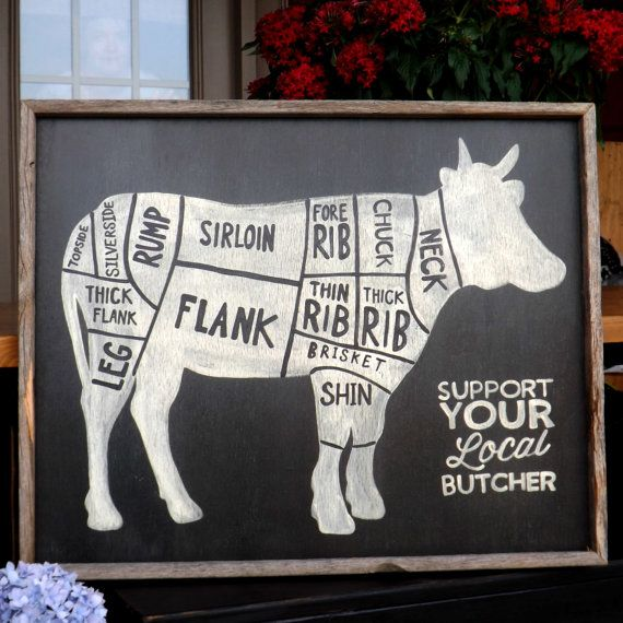 """Butcher Shop Cuts Diagram rustic wood sign by mangoseedmarketplace, $65.00-cool for the kitchen! But not the """"support your local butcher"""""""