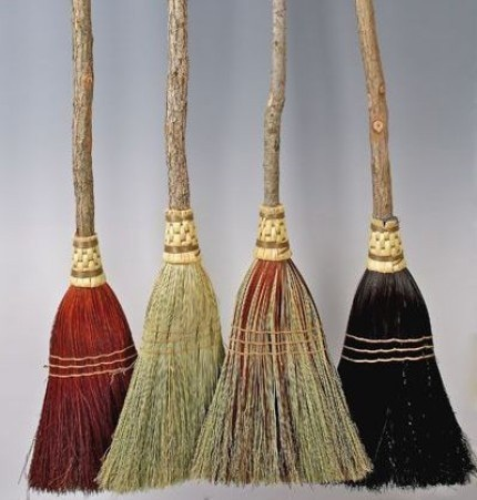 Broomchick's handcrafted organic brooms. These gorgeous hand-bound brooms will clean your space literally and spiritually. They are made from sassafras wood handles from the Ozark Mountains of Arkansas and broomcorn fibers hand-harvested by the Amish in southern Illinois, making them a rare all-American made and sourced product.