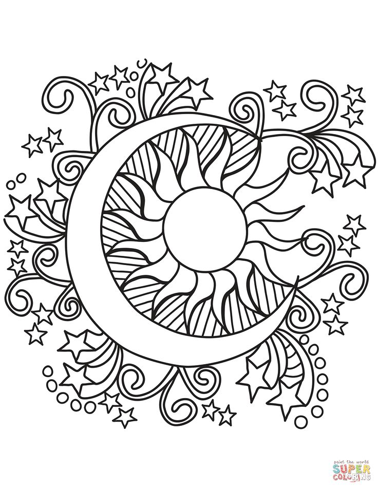 Pop Art Sun, Moon, and Stars coloring page | Free ...