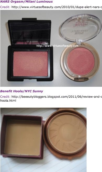 dupes. Blush and bronzer