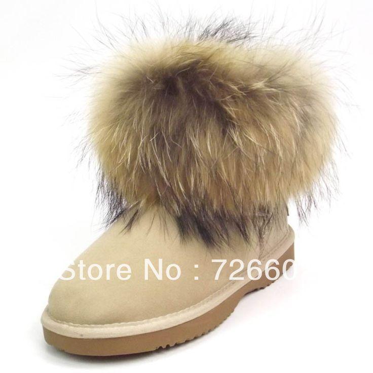 Free shipping    5854 models snow boots  100% australia genuine sheepskin fox wool materials used Women Style