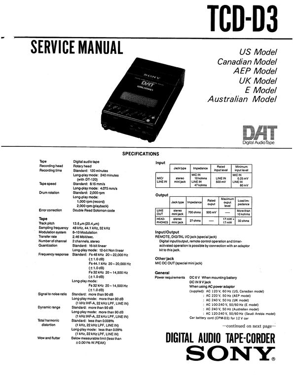 Sony TCD-D3 DAT , Original Service Manual PDF format suitable for Windows XP, Vista, 7 DOWNLOAD