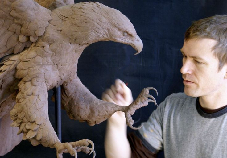 Realistic clay eagle sculpture detail | Blue Rhino Studio