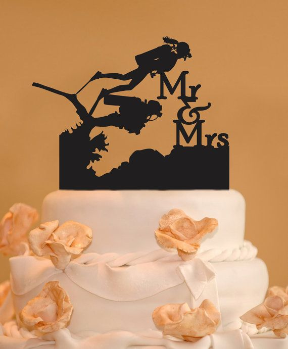 Scuba Divers wedding cake topper - Mr. and Mrs. Wedding Cake Topper - Silouette cake topper - Scuba diving cake topper