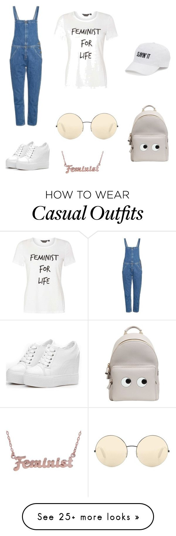 """""""Casual but slaying feminist"""" by le-weirdo-1 on Polyvore featuring M.i.h Jeans, Victoria Beckham, Dorothy Perkins, me you, SO and Anya Hindmarch"""