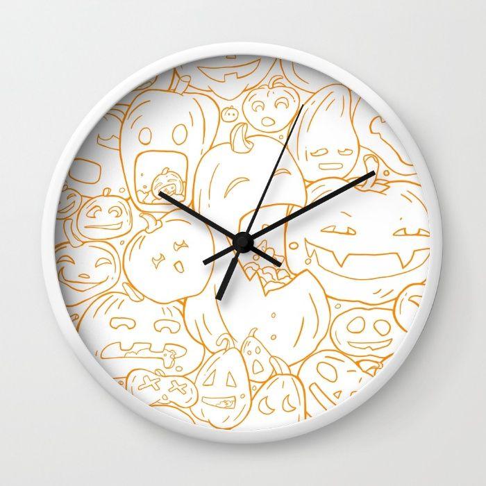 Pumpkin Halloween line pattern Wall Clock by StrijkDesign | Society6
