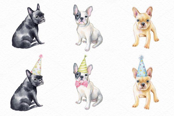 French bulldog set by Olga Ponomarchuk on @creativemarket