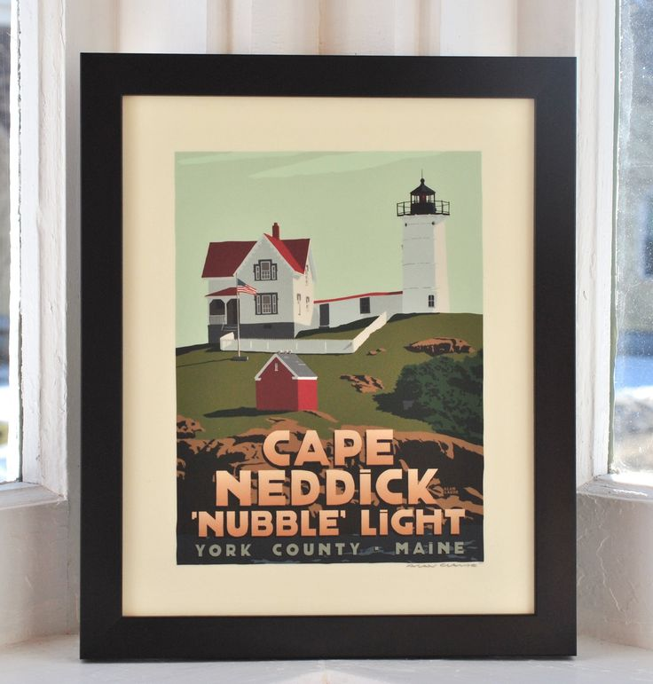 """Cape Neddick 'Nubble' Light, Maine Framed Print (8x10 Lighthouse Travel Poster, Wall Decor Art). Cape Neddick 'Nubble' Light by Graphic Artist Alan Claude. Beautiful Cape Neddick """"Nubble"""" Light is planted on a small rocky island that is 'so close yet so far' from the shore divided by a 100 foot channel. The vivid contrasting autumn light and shadows delivered the depth and dimension for the rock foundation I was seeking, but I added a soft delicate blueish shadow on the tower and the..."""