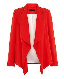 Blazer rouge à effet cascade   New Look