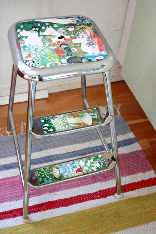 Decorate your old chair with a nice paper. #diy