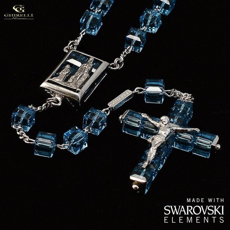 Swarovski (r) Crystal and Sterling Silver Precious Rosary, rhodium plated finish - Ghirelli Rosaries - Rosary Beads For Sale