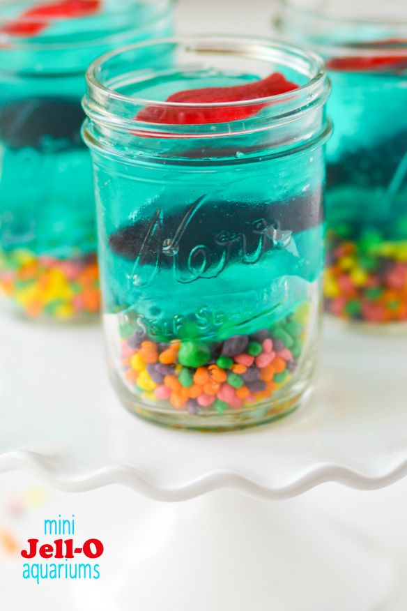 Pool Party : These Mini Jell-O Aquariums are the perfect treat to put together with your kids! Great idea for pool parties                                                                                                                                                      More