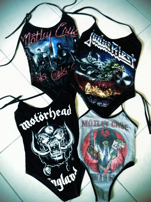 Motley Crue, Judas Priest, Motorhead bathing suit leatorad things
