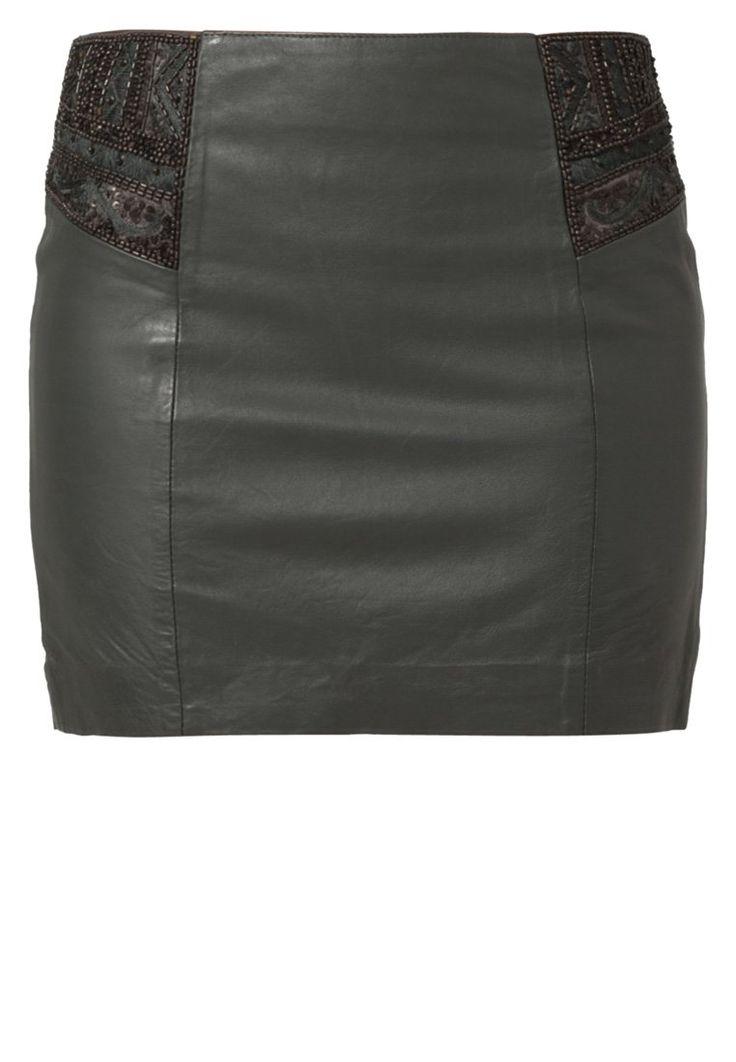 NAF NAF Leather skirt green
